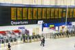 Leinwanddruck Bild - Timetable at departures - Waterloo railway station, London, UK