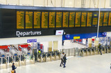 Timetable at departures - Waterloo railway station, London, UK