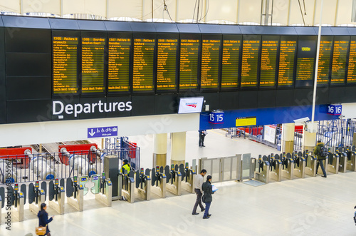 Timetable at departures - Waterloo railway station, London, UK