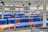 trains at waterloo station, london, uk
