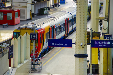 A train at a platform, Waterloo Station, London