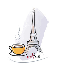 Сup of coffee in a Paris cafe