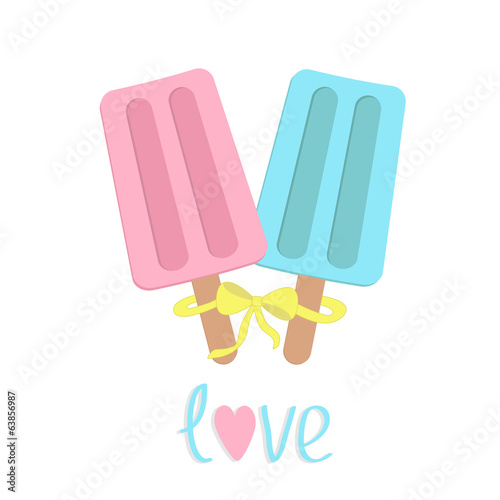 Ice cream  with bow on  sticks. Love card.