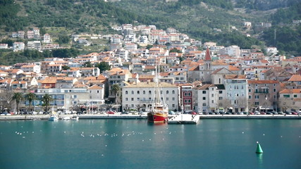 View from the sea at city Makarska in Croatia