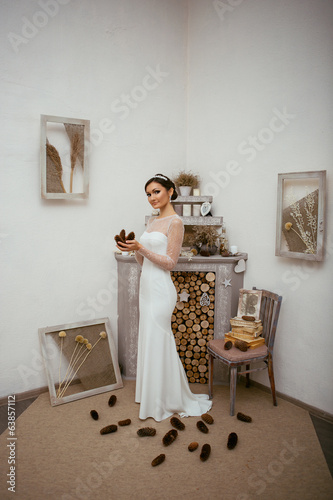 Portrait of bride with deal applies