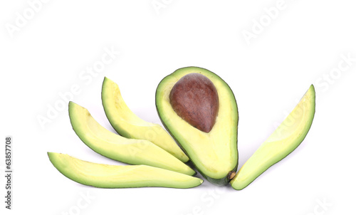 Sliced ripe avocado.