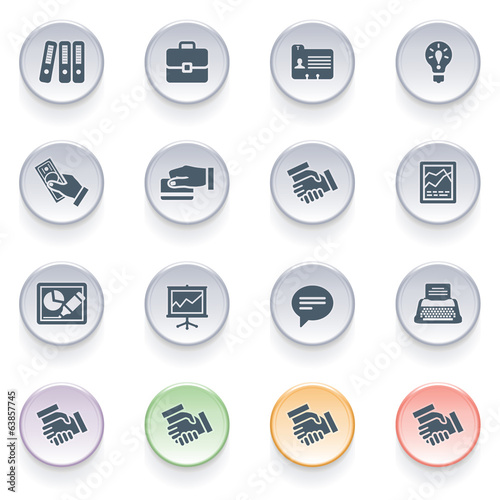 Business icons on color buttons.