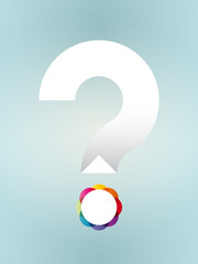 white question mark with colored dot