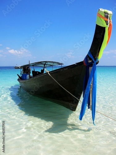Long-tailed boat at beautiful beach in Thailand