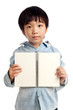 Boy holding open notebook