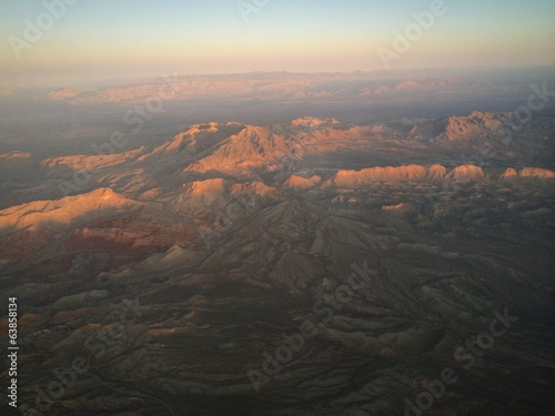 aerial view of sunset over the mountains