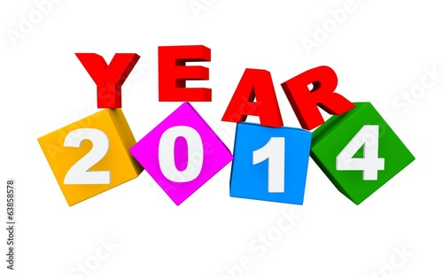3D 2014 Happy New Year background