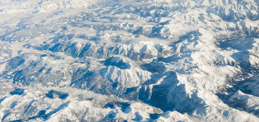 The Alps in winter out of the plane, Aerial Panorama