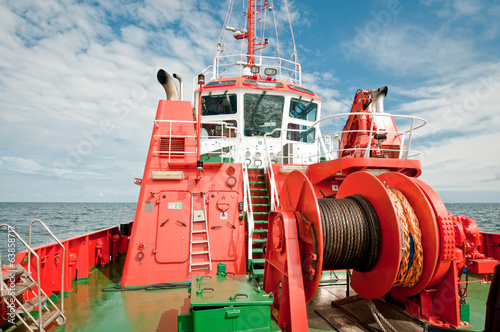 red tugboat on a Baltic Sea in Gdansk, Poland