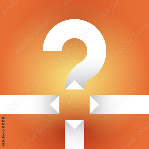white question mark on an orange background with arrows