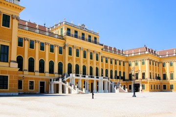 Facade of the grand Schonbrunn Palace, Vienna, Austria