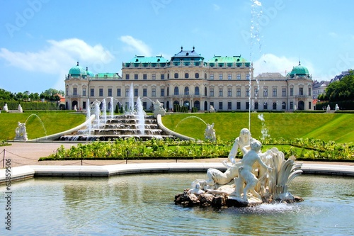 Belvedere Palace, garden and fountains, Vienna, Austria