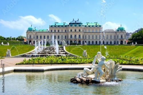 Fotobehang Wenen Belvedere Palace, garden and fountains, Vienna, Austria