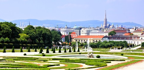 Panoramic view over the gardens and city of Vienna, Austria