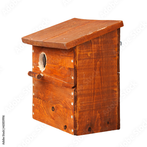 Nest box made of wood isolated on white background