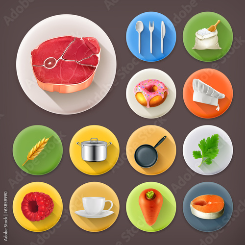 Kitchen and Cooking, long shadow icon set