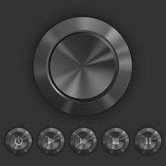 Metallic dark buttons with play,pause icons
