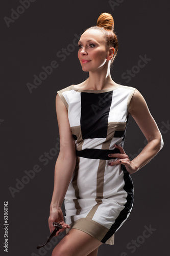 Fashion portrait of beautiful female model