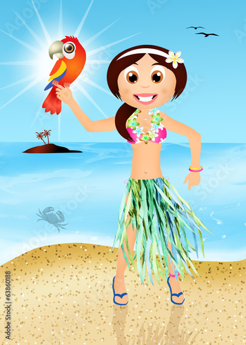 Hawaiian woman with parrot