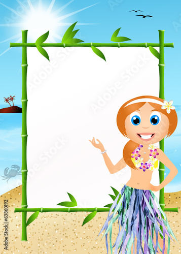 Hawaiian woman with panel message