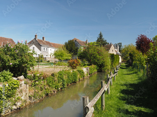 Montresor village, grass path along the Indrois  France