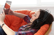Lifestyle. Attractive girl with tablet