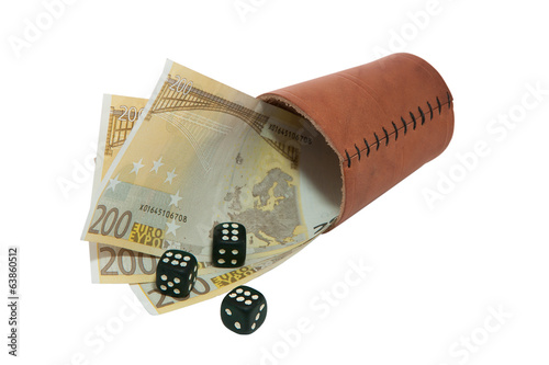 dice on money isolated on white background