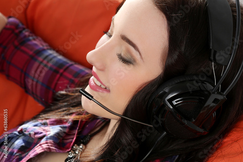 Lifestyle. Attractive girl in headphones