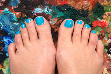 women feet and nails (pedicure)
