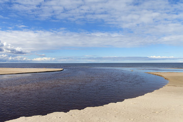 Small river and Baltic sea.