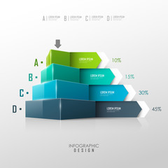 Vector pyramid for infographic or web design