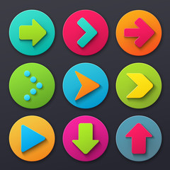 Colorful arrow sign icons