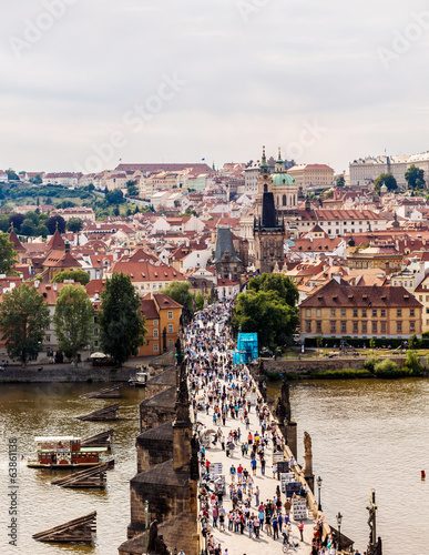 Karlov or charles bridge in Prague in summer