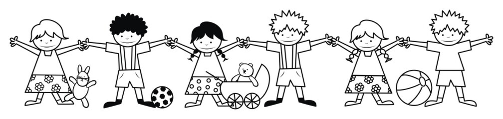 kids and toys - coloring book