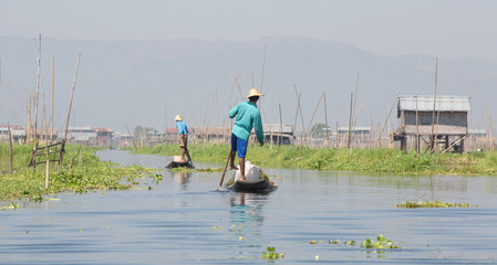 Floating garden and Fisherman