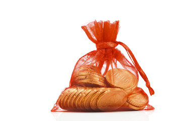 Euro coins in red gift sack, isolated on white