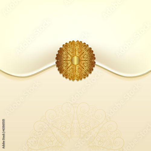 The original envelope with a gold clasp. Beautiful wedding card