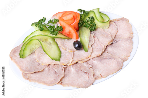 sliced tongue with vegetables
