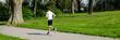 jogger dreht seine laufrunde