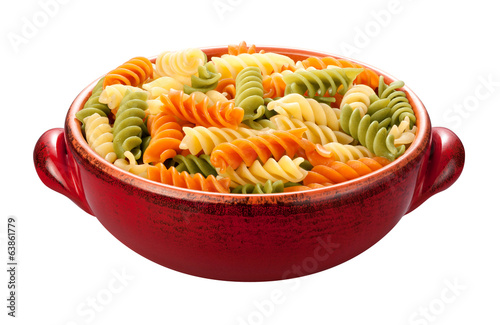 Rainbow Rotini Pasta isolated