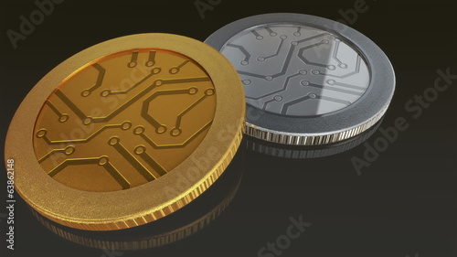 The digital currency gold silver coin