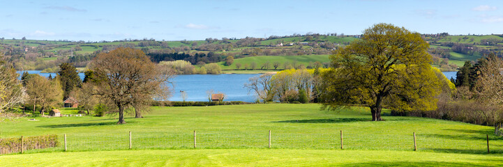 Panoramic view at Blagdon Lake Somerset England UK