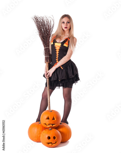 Halloween witch  with pumpkin, broom.