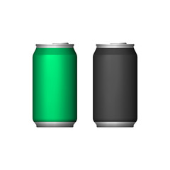 Two Aluminum Can Green Black