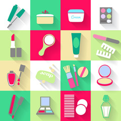Cosmetic products icons set.